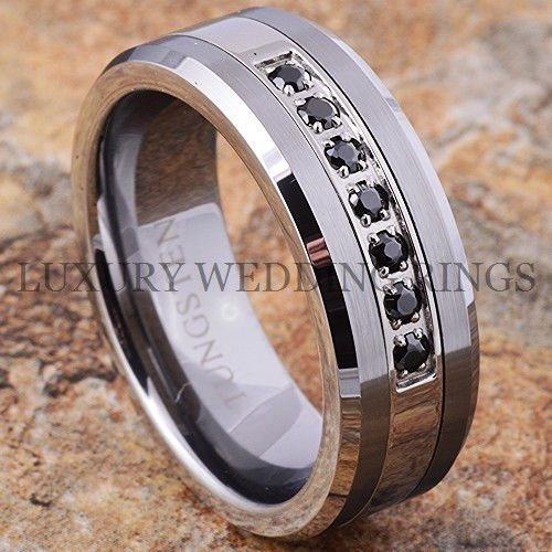 tungsten ring black diamonds mens wedding band brushed titanium color