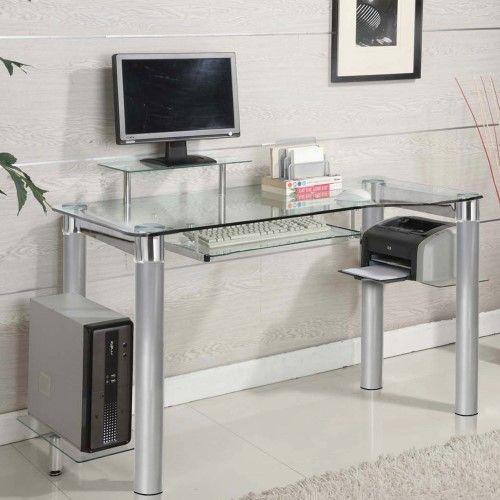 tempered glass office desk. Innovex Clear Tempered Glass Modern Style Saturn Desk Office R