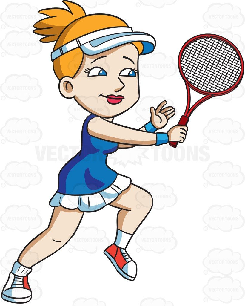 A Female Tennis Player Hits A Backhand Winner Vector Graphics Vectortoons Com Tennis Golf