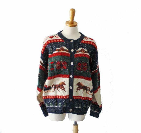 Vintage 90s Novelty Wool Woolrich Sweater  by bluebutterflyvintage