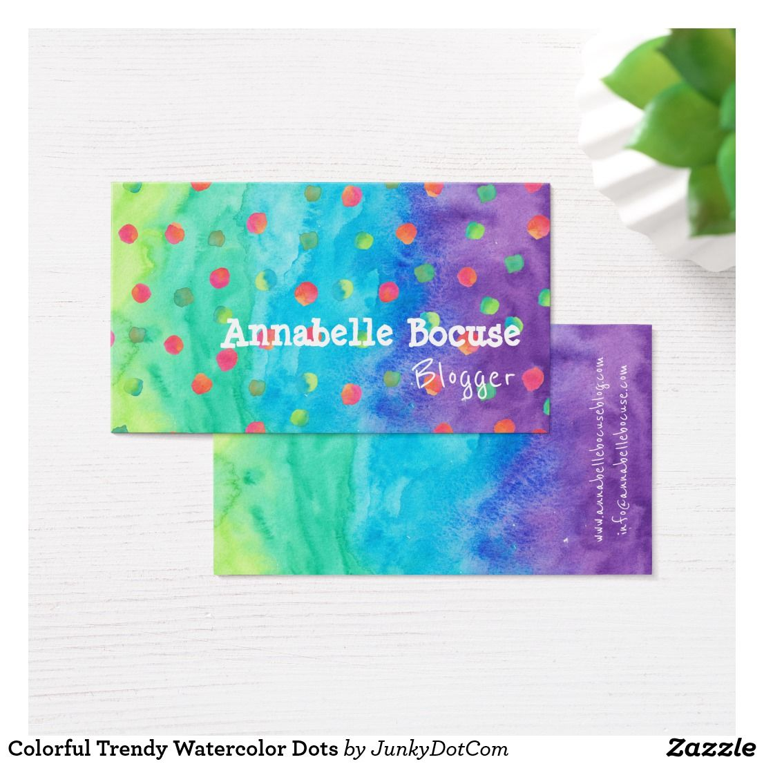 Colorful trendy watercolor dots business card business cards can you imagine the impact you would make with these business cards modern trendy reheart Image collections