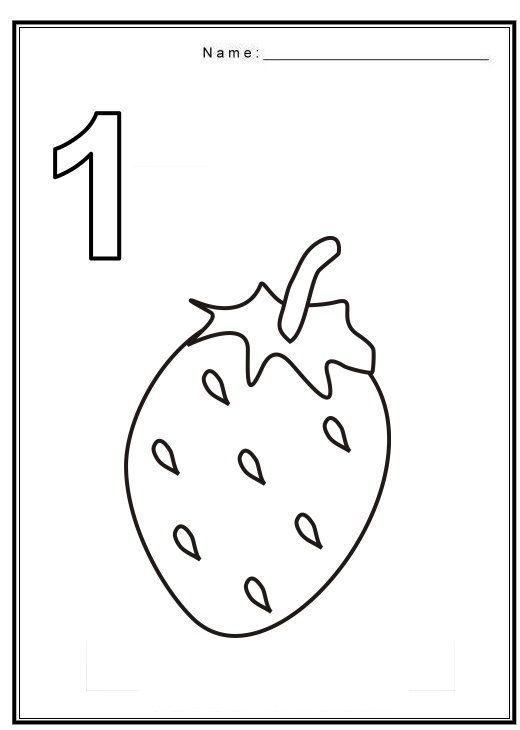 free coloring pages of number 1 with fruit