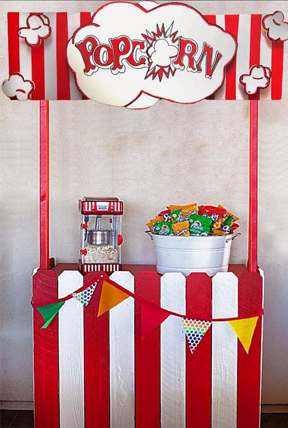 Popcorn Booth Circus Carnival Concession Stand By
