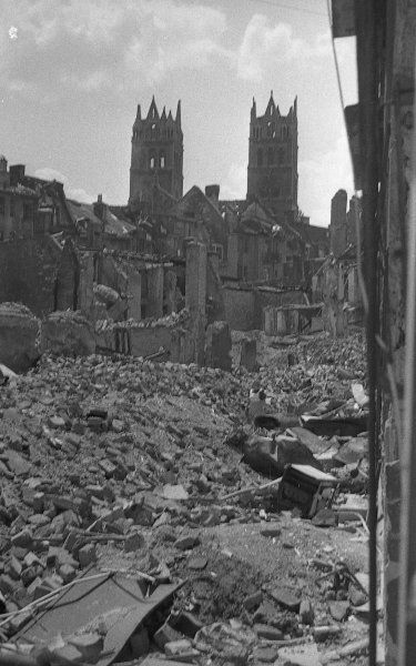 The towers of St. Maximilian amidst the ruins of Munich after it was bombed by 'the allies'.