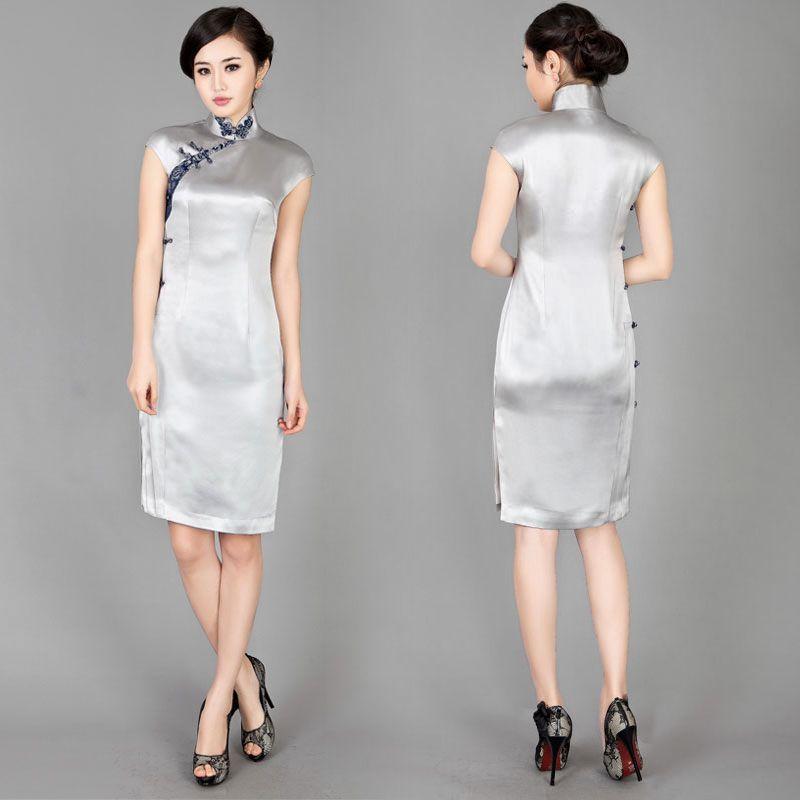 Silver grey Chinese modern silk qipao cheongsam dress(画像あり ...