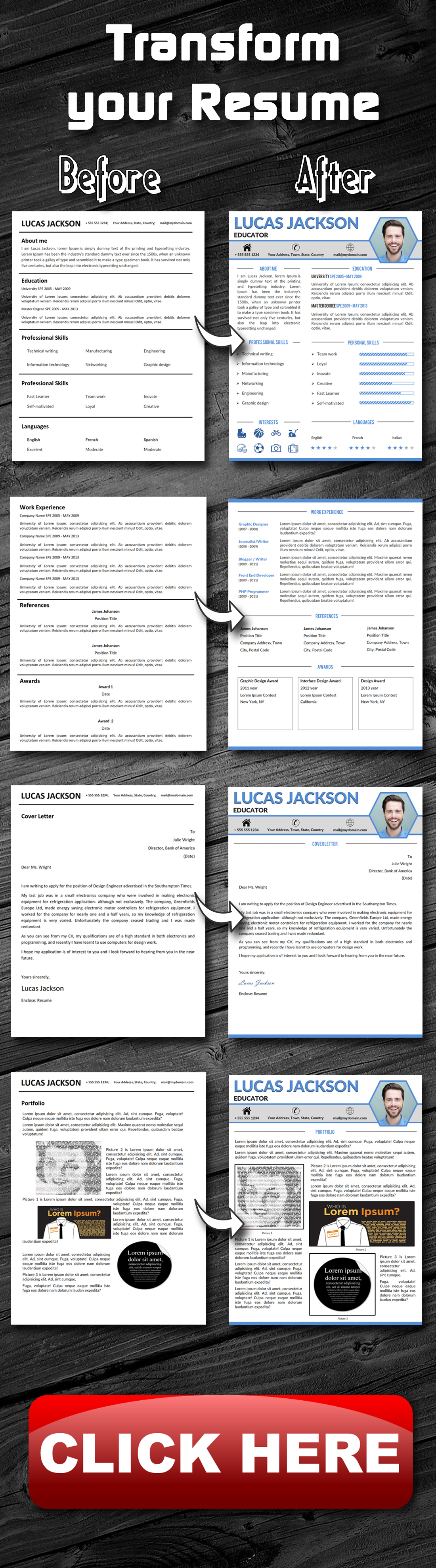 creative professional resume template   cover letter and
