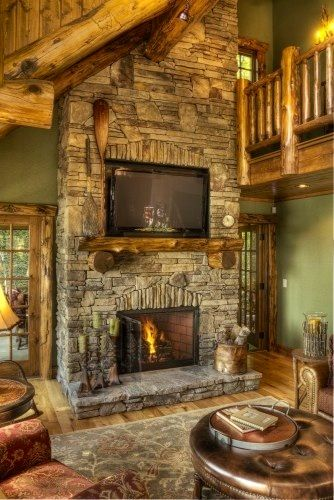 Beautiful Log Home Love This Fireplace Of Stone Cabin