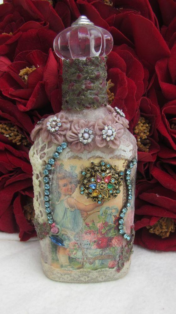 Altered Art Bottle MIXED MEDIA BOTTLE #6