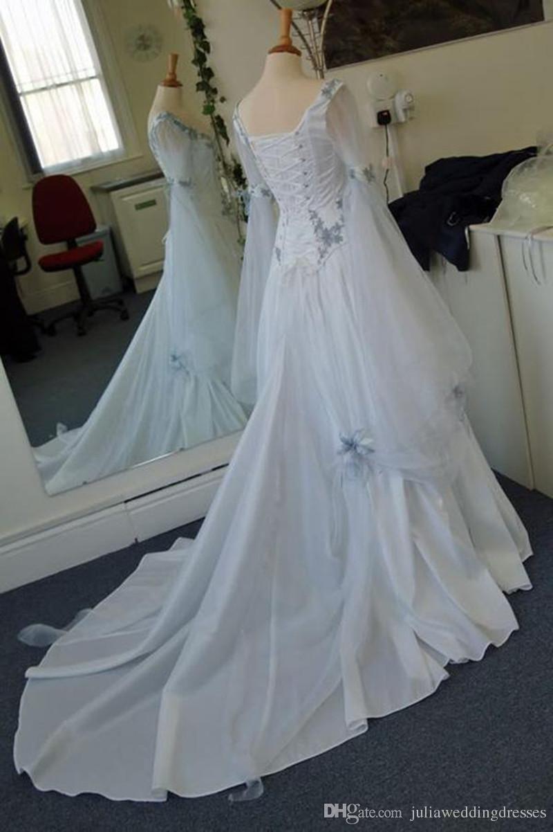 Vintage celtic wedding dresses white and pale blue colorful medieval