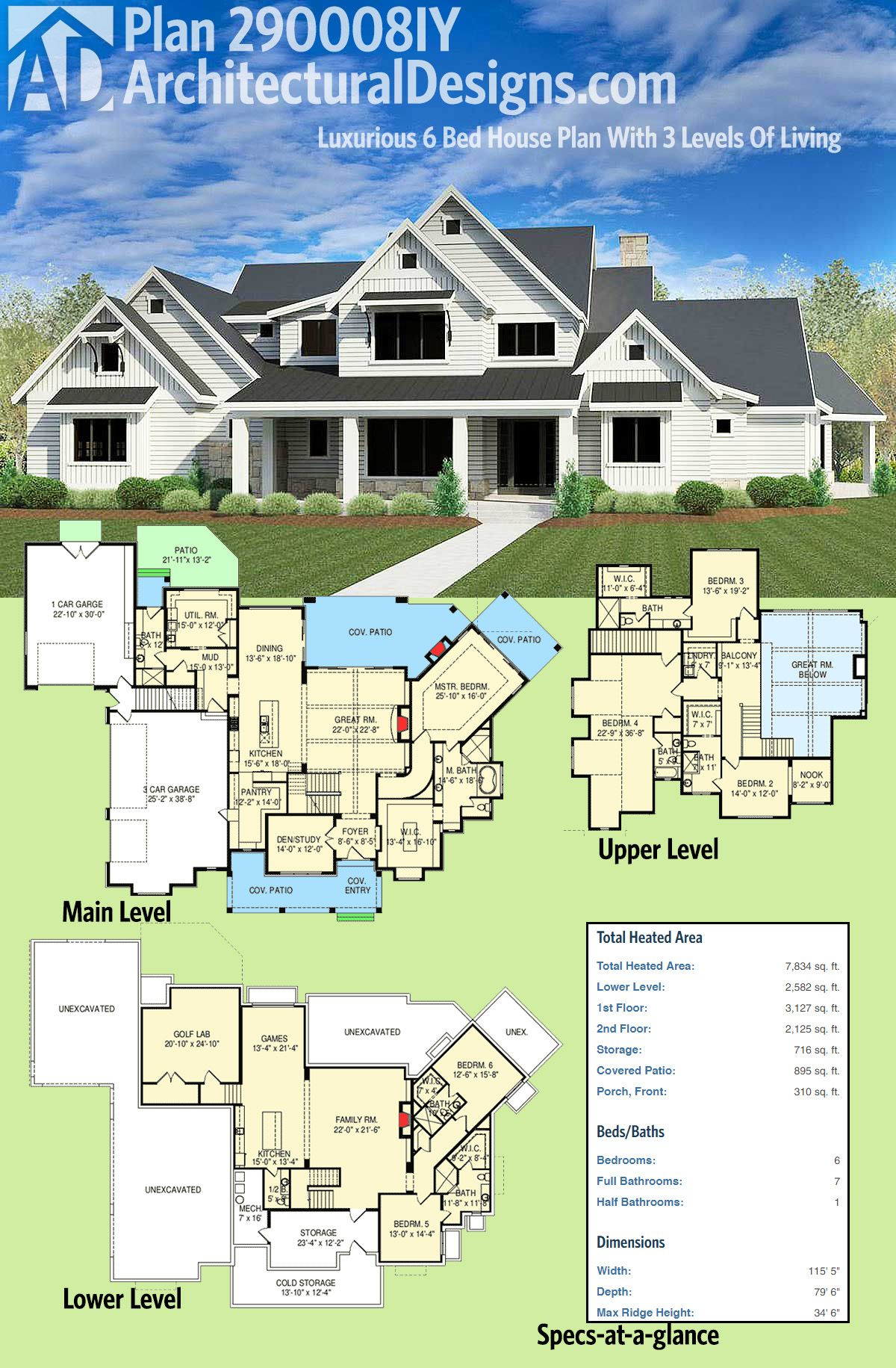 Plan 290008IY: Luxurious 6 Bed House Plan With 3 Levels Of Living ...