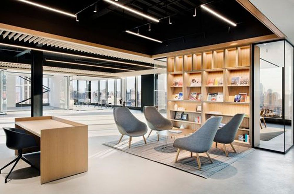 black exposed ceiling open office lighting - Google Search ...