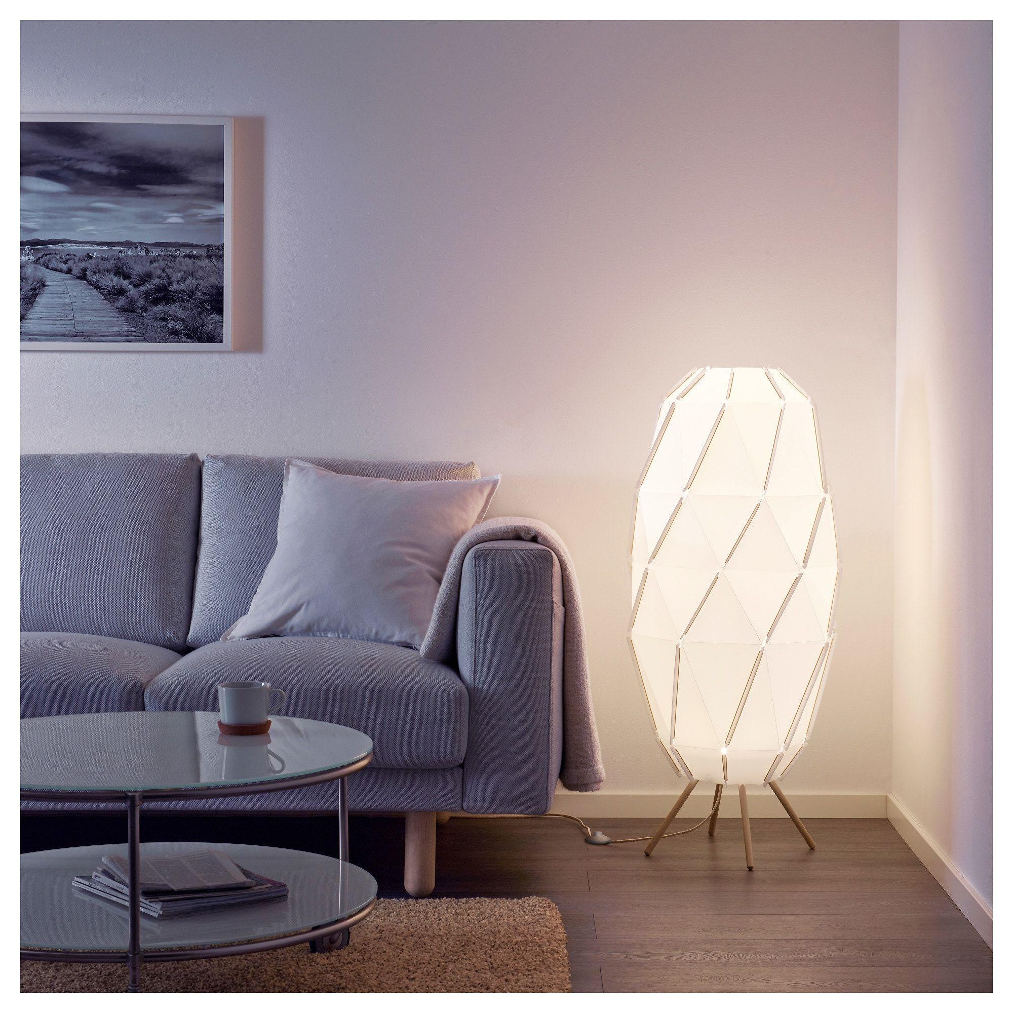 SJÖPENNA Floor lamp with LED bulb white White floor