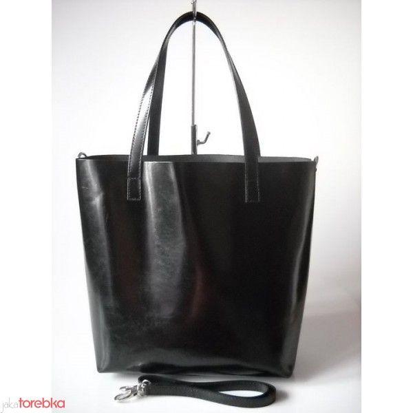 26786ba75a07e Włoska Torebka Shopper Bag Skóra Naturalna VERA PELLE Czarna ...
