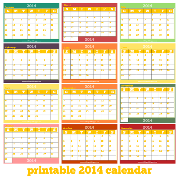 Free printable monthly 2014 calendar there are 6 pages for 4 month calendar template 2014
