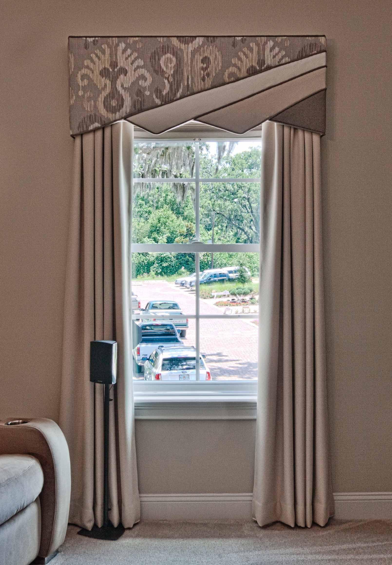 Window coverings ideas  contemporary window treatment design with a  split cornice design