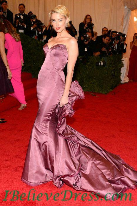 Gorgeous Amber Heard Strapless Trumpet Evening Prom Dress 2012 Met Gala Ball Red Carpet