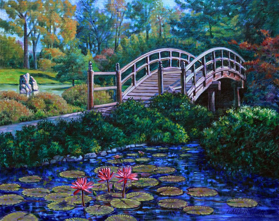 Japanese Garden Bridge Painting | water lily | Pinterest ...