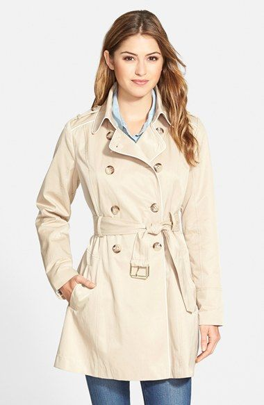 GUESS Piped Fit & Flare Trench Coat at Nordstrom.com. A flared skirt and