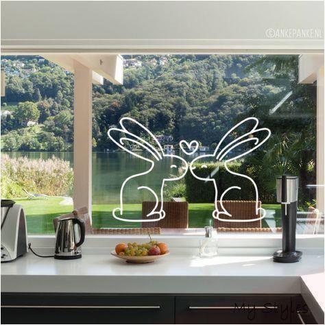 Fenster zeichnen - Zwei liebende Hasen # Fenster zeichnen ...