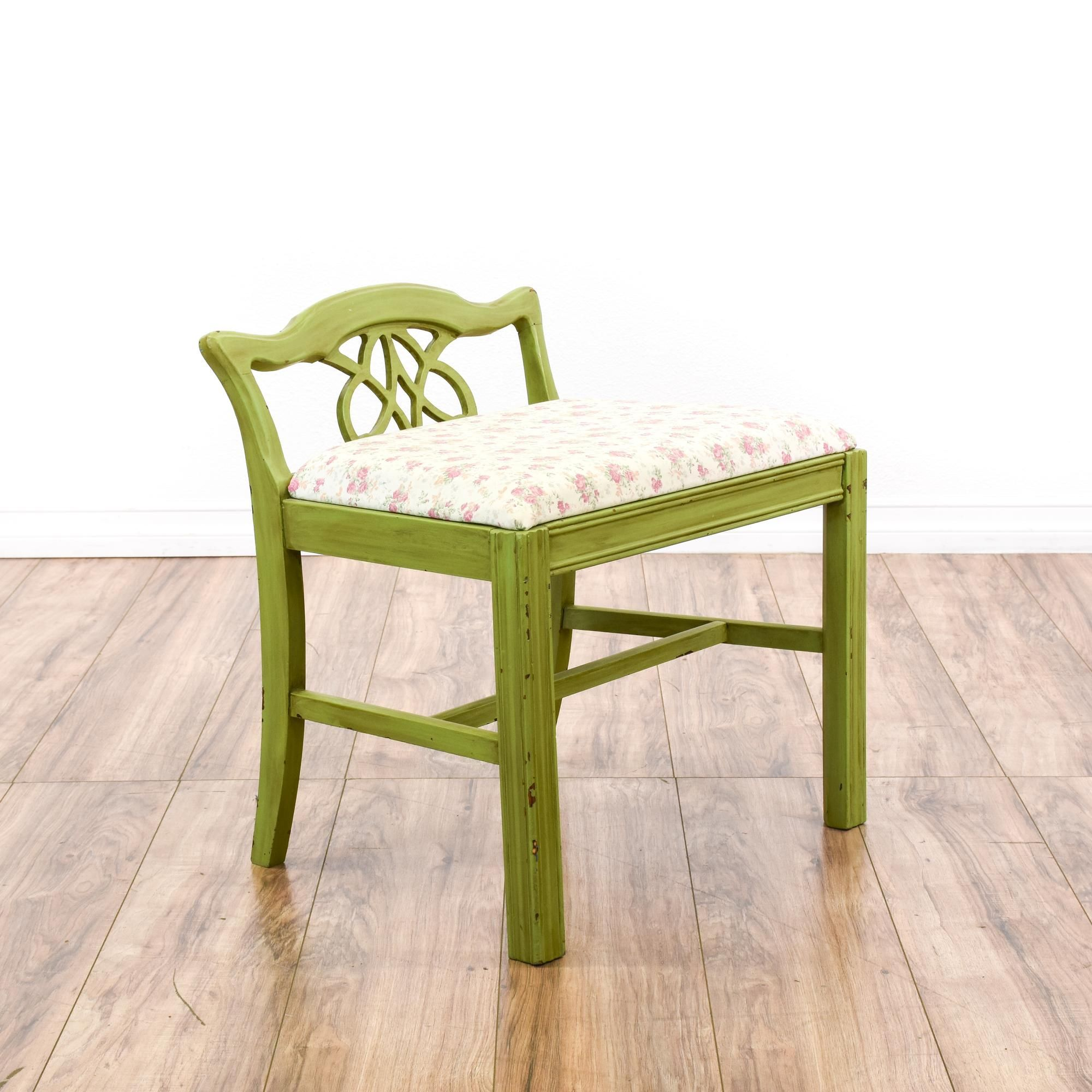 This Shabby Chic Vanity Stool Is Featured In A Solid Wood With A Distressed Light Green Paint Finish This Small Vintage Furniture Vintage Chairs Vanity Stool