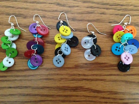 Button Earrings Earrings Button Earrings Handcraft