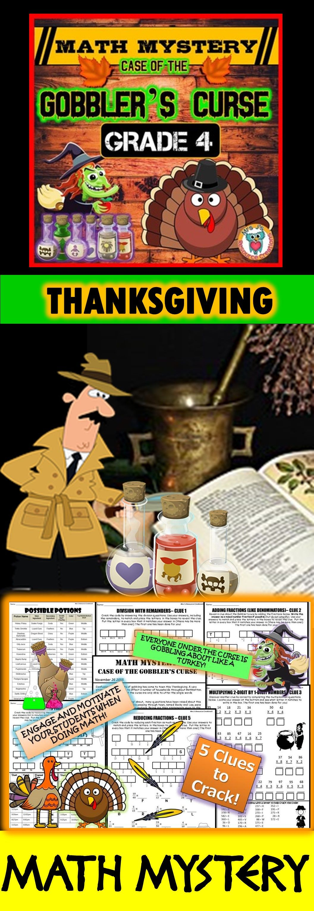 Thanksgiving Math Activity Math Mystery Grade 4 Mixed
