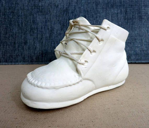 0229a9d38fd6b Ceramic Baby Shoe Ivory Bisque Porcelain Baby Shoe Planter | for ...