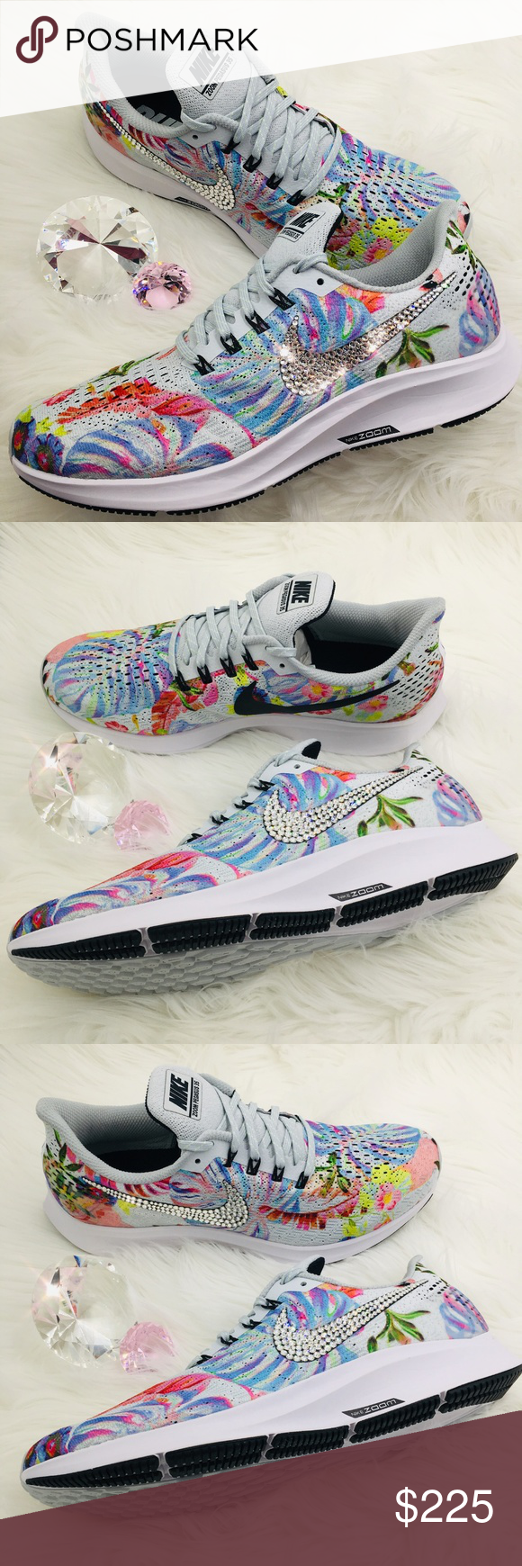 Bling Nike Air Zoom Pegasus 35 Floral w  Swarovski GORGEOUS!! Brand New Nike  Air Zoom Pegasus 35 Women s Floral Print Shoes with Swarovski Crystals on  ... f5491193164c