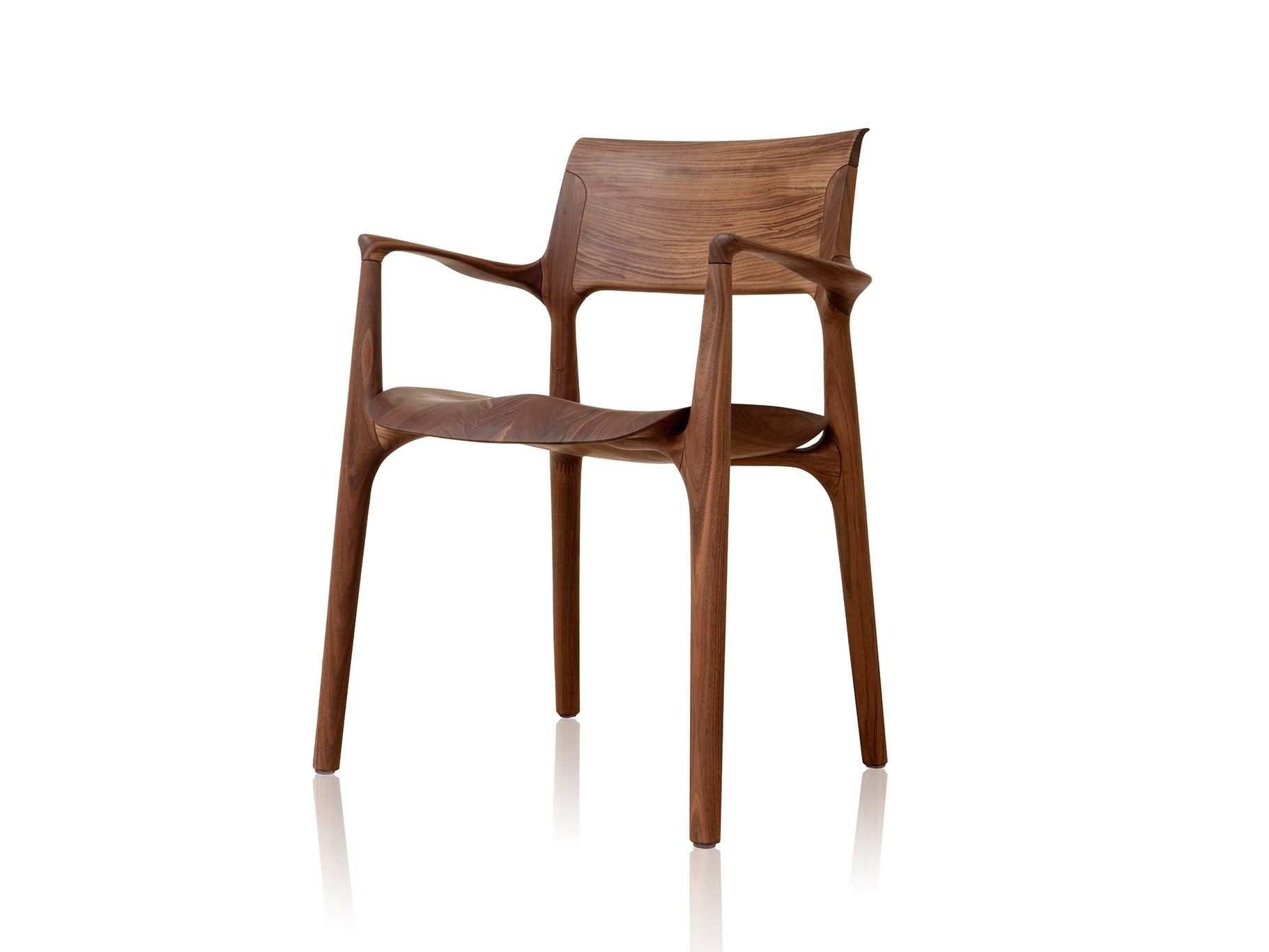 EASY Solid wood chair with armrests by Sollos design by Jader