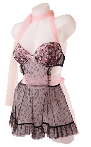 Victorias Secret Tulle  Lace Apron Style Babydoll Set 34B *** Read more reviews of the product by visiting the link on the image.