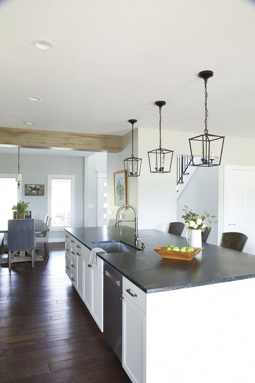 Modern Farmhouse Kitchen With White Cabinets And Soapstone Countertops By Jillia Kitchen Projects Design Replacing Kitchen Countertops Farmhouse Kitchen Design