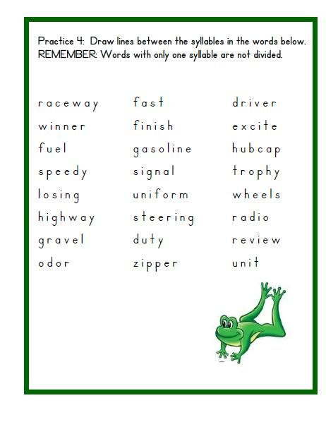 Syllable Division Syllable Patterns Activity Teaching Syllables Syllable Division Phonics Words