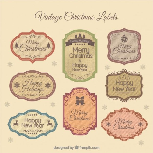 Vintage christmas labels Vector | Free Download | Shabby ...