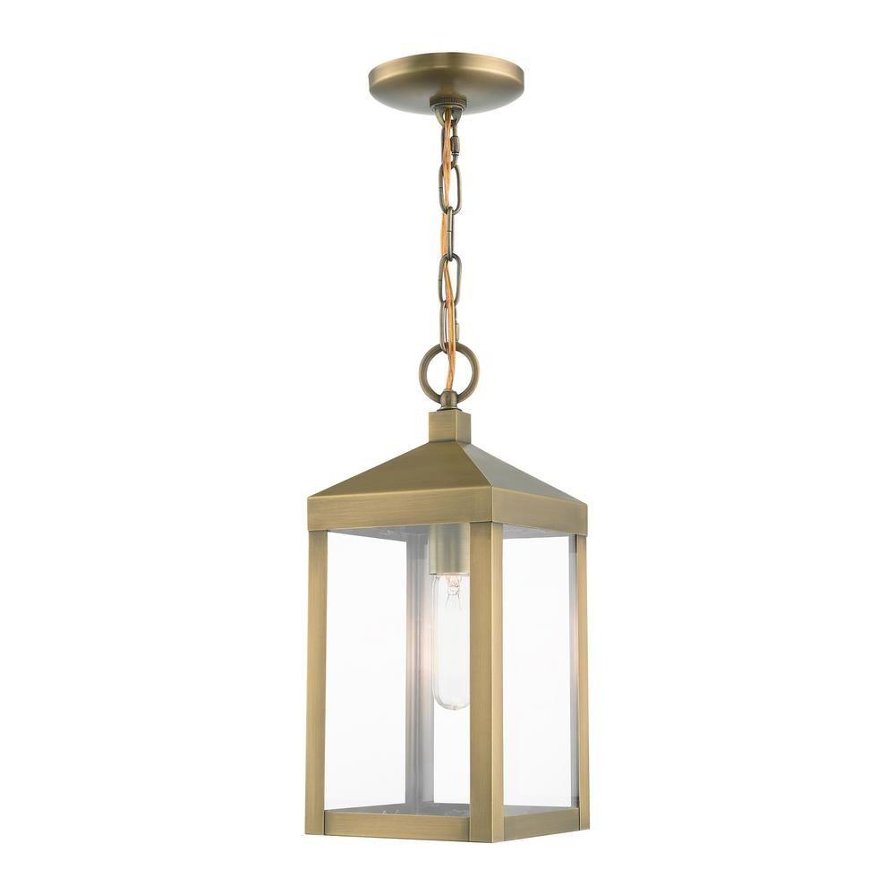Nyack 1 Light Antique Brass Outdoor Pendant Light With Clear Glass Shade 20591 01 In 2020 Outdoor Pendant Lighting Outdoor Hanging Lights Livex Lighting