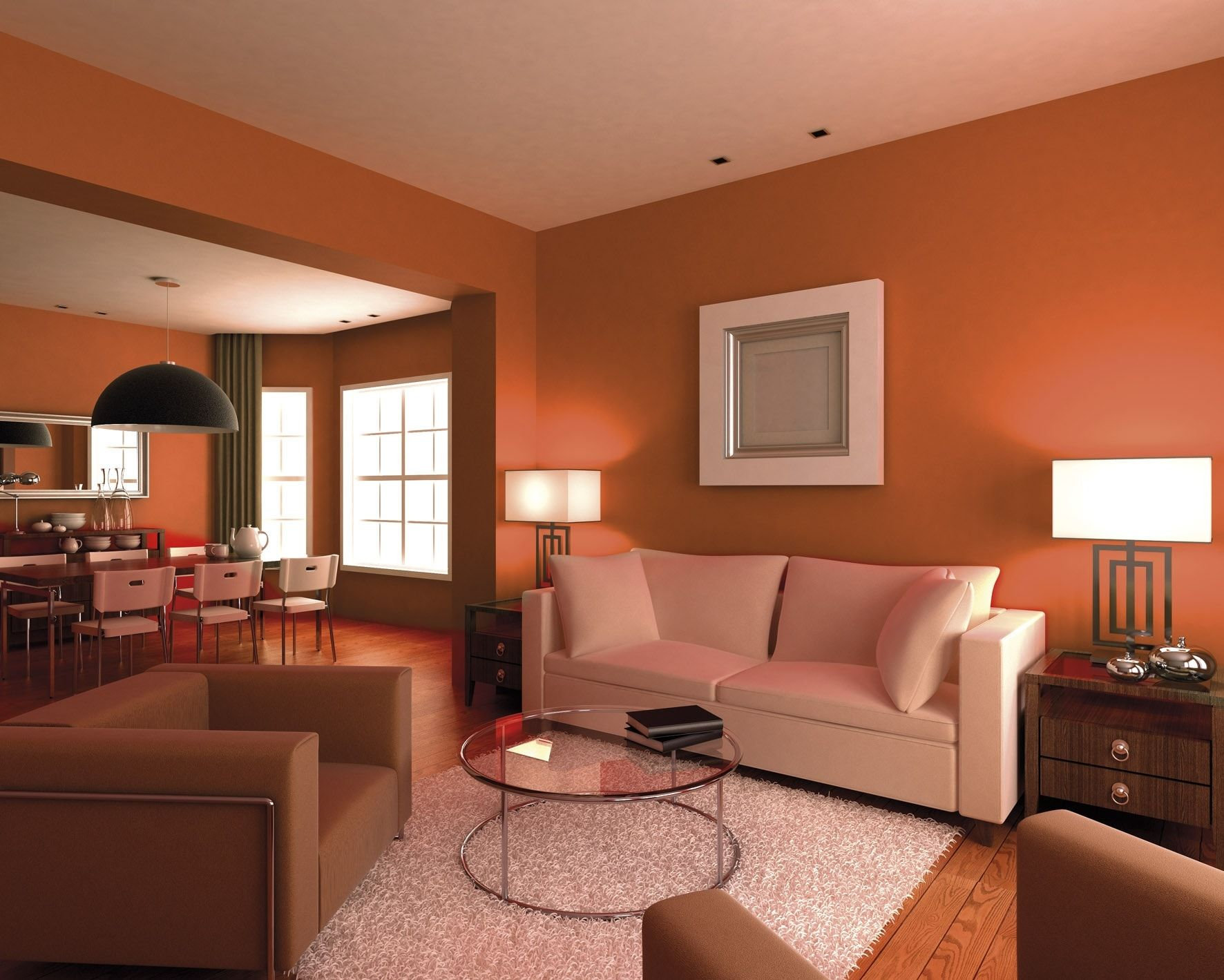 Un salon orange contemporain  Salon orange, Deco moderne salon
