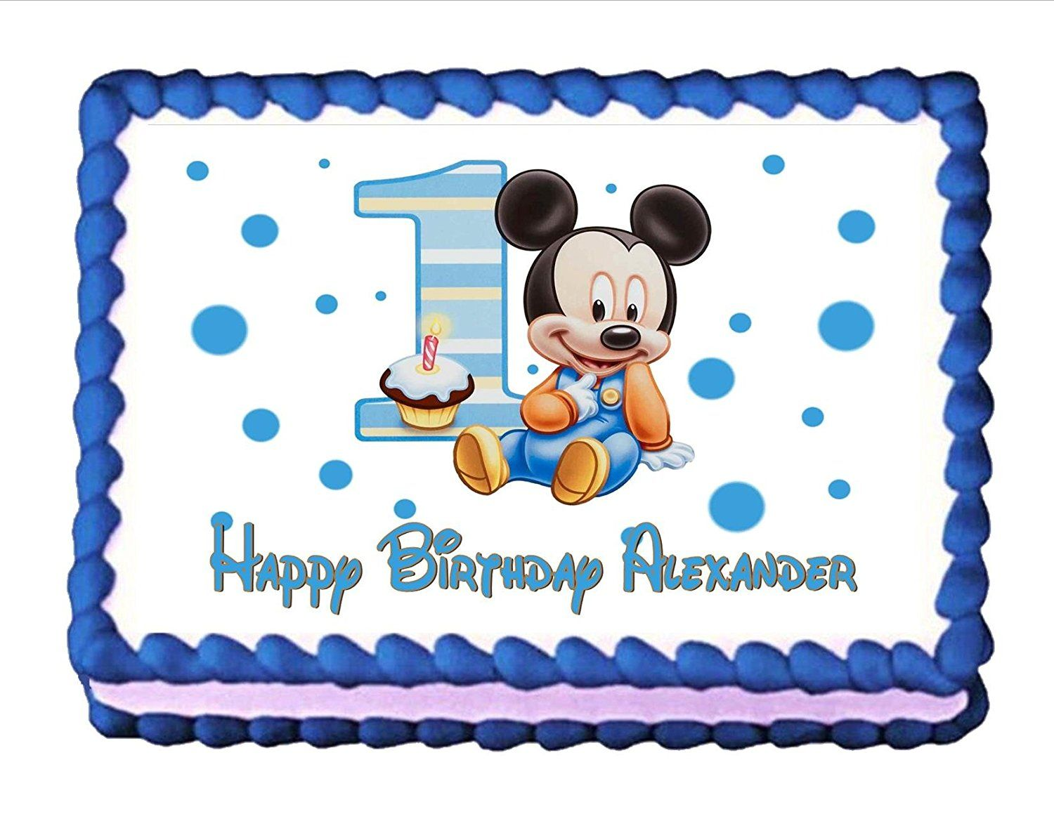 Edible cake topper baby mickey mouse babys 1st birthday