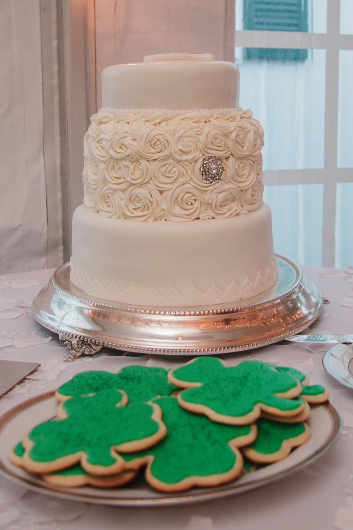 Ivory wedding cake with irish cookies ivory wedding cake