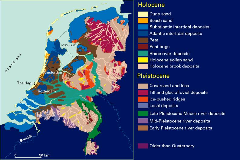 Figure 2 Geological map of the Netherlands after Berendsen 2004