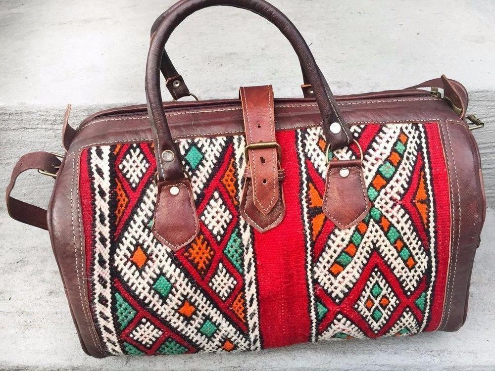 Leather Moroccan Kilim Rug Duffel Bag Sport Gym Luggage Travel Baggage x  large 1  Handmade  CrossbodyBag ecda12bd40bb5
