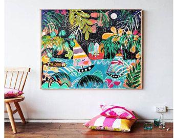 Dschungel colorida pintura abstracta de Jolina Anthony   Etsy