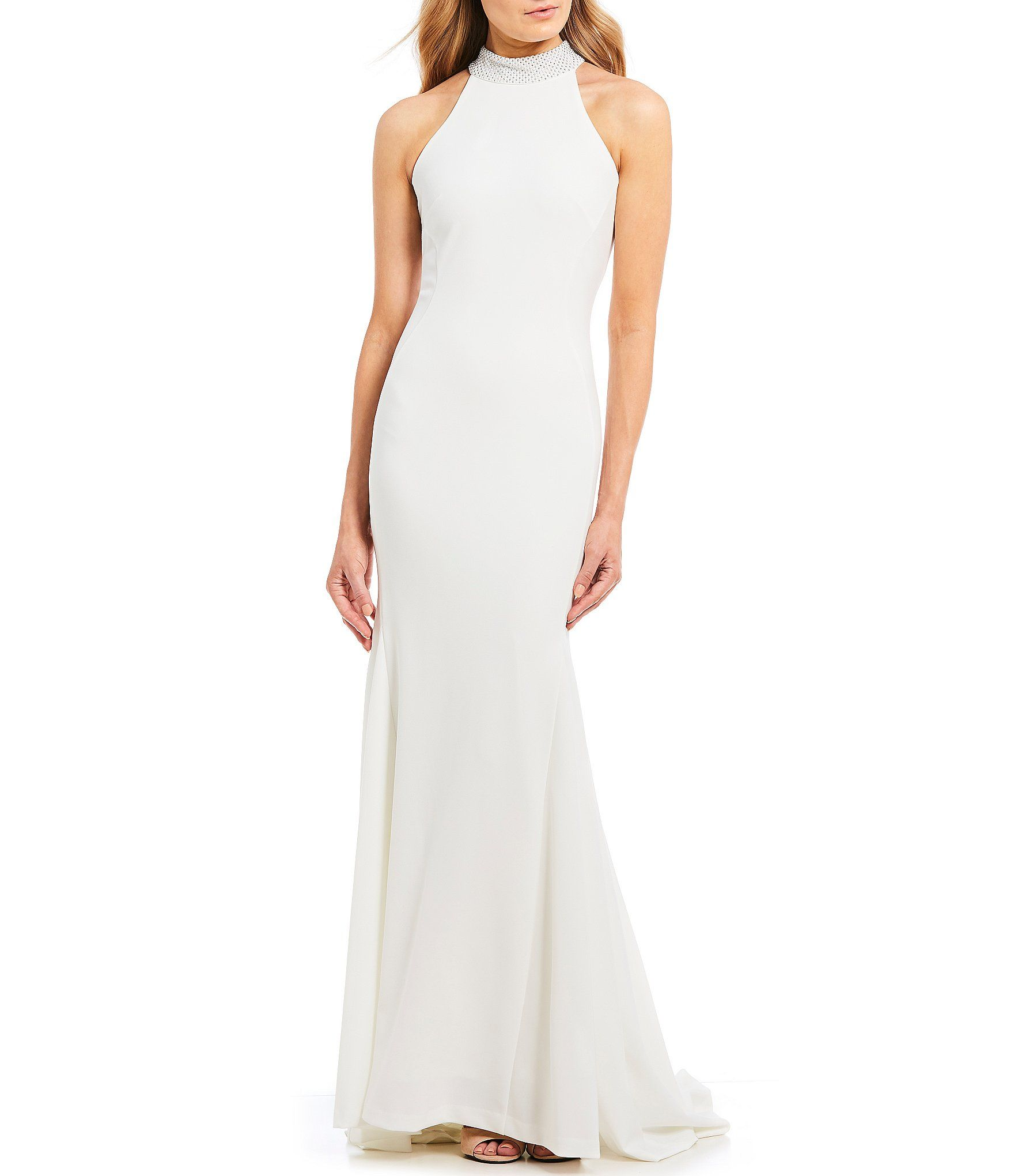 Embellished Mock Neck Mermaid Gown Glamorous Evening Gowns
