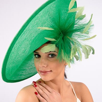 <b>Stunning Hat by Alexandria J. Couture</b><br>Emerald, Fuchsia<br>Style AJ540s