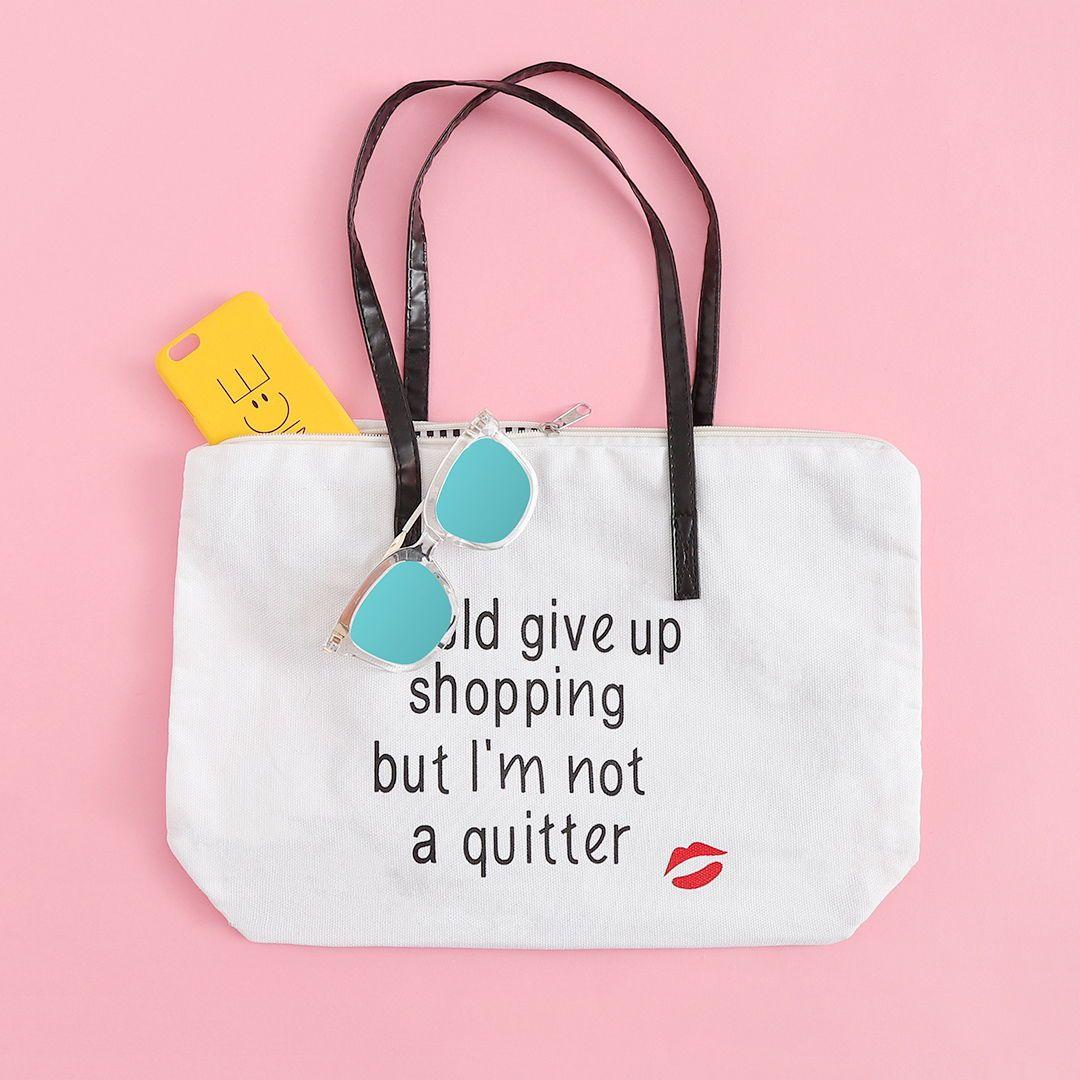 Mix & Match Slogan Print Canvas Tote Bag
