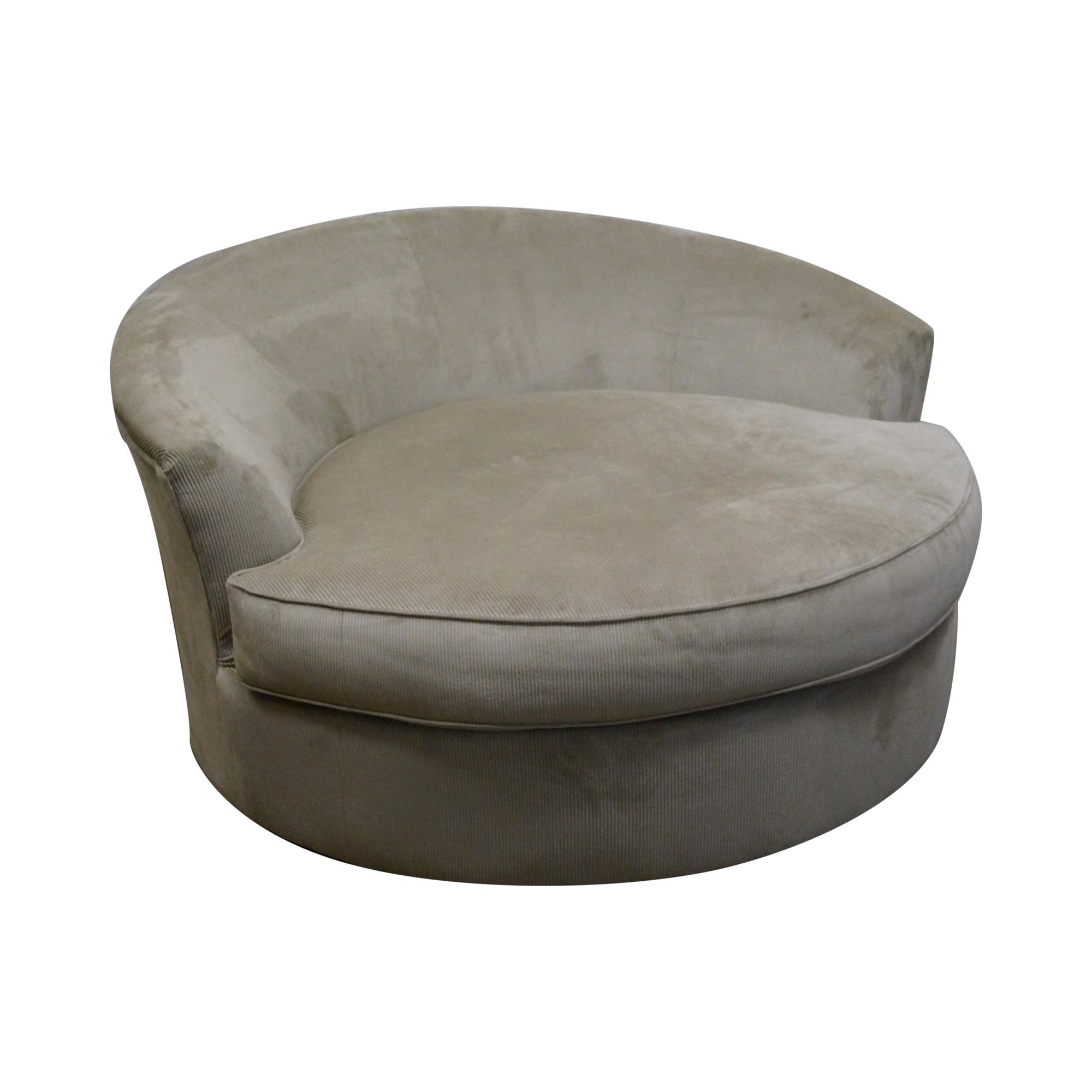 Milo Baughman - Round Revolving Swivel Chair Loveseat ...