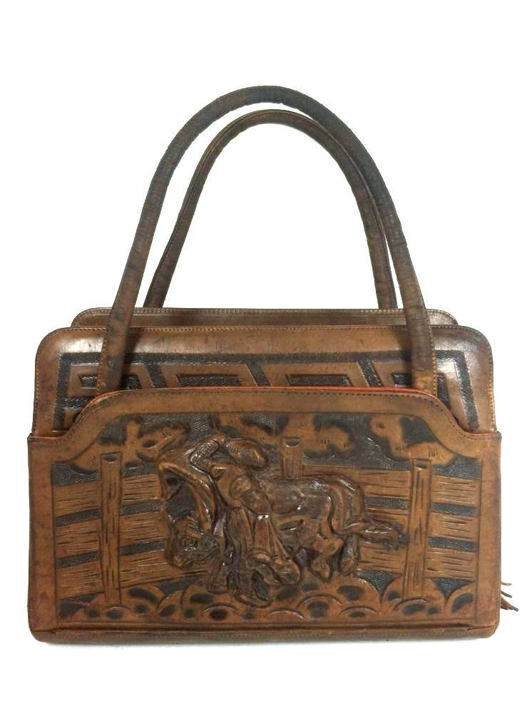 9eae26da05d1 Vintage Hand Tooled Leather Purse Mexican Bullfighter Mayan Calendar   Unbranded  HandBag