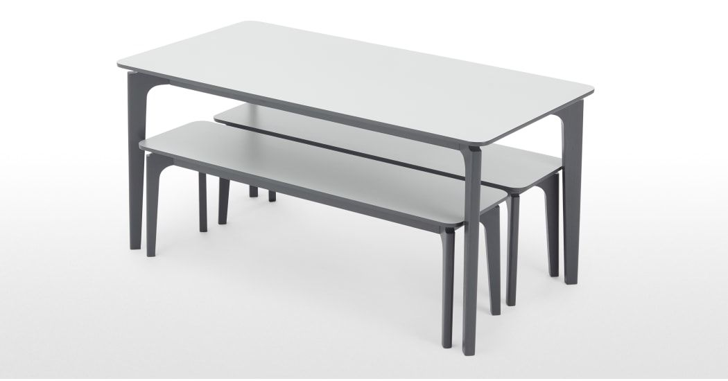 Buren Rectangle Dining Table And 2 Benches Set Hpl And Ash Made