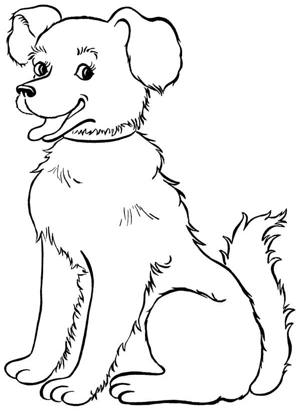 Dog Big Smile Coloring For Kids Dog Coloring Page Puppy