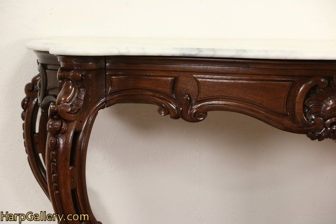 French Rosewood Antique 1870 S Hall Console Table Marble Top