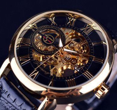 1f1f641e553 Forsining 3d Logo Design Hollow Engraving Black Gold Case Leather Skeleton  Mechanical Watches Men Luxury Brand Heren Horloge