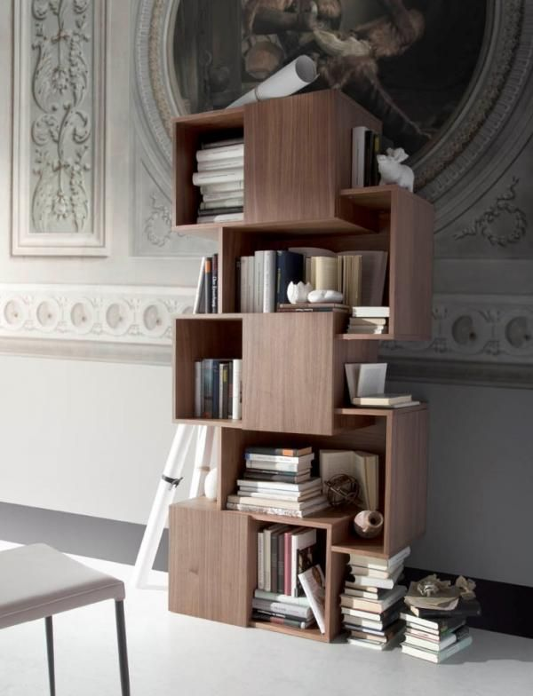 Porto Lujo Cronos Modern Bookshelf In Walnut Finish